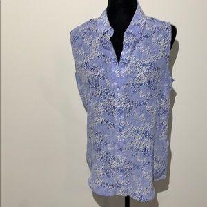 Equipment sleeveless blouse floral print silk navy